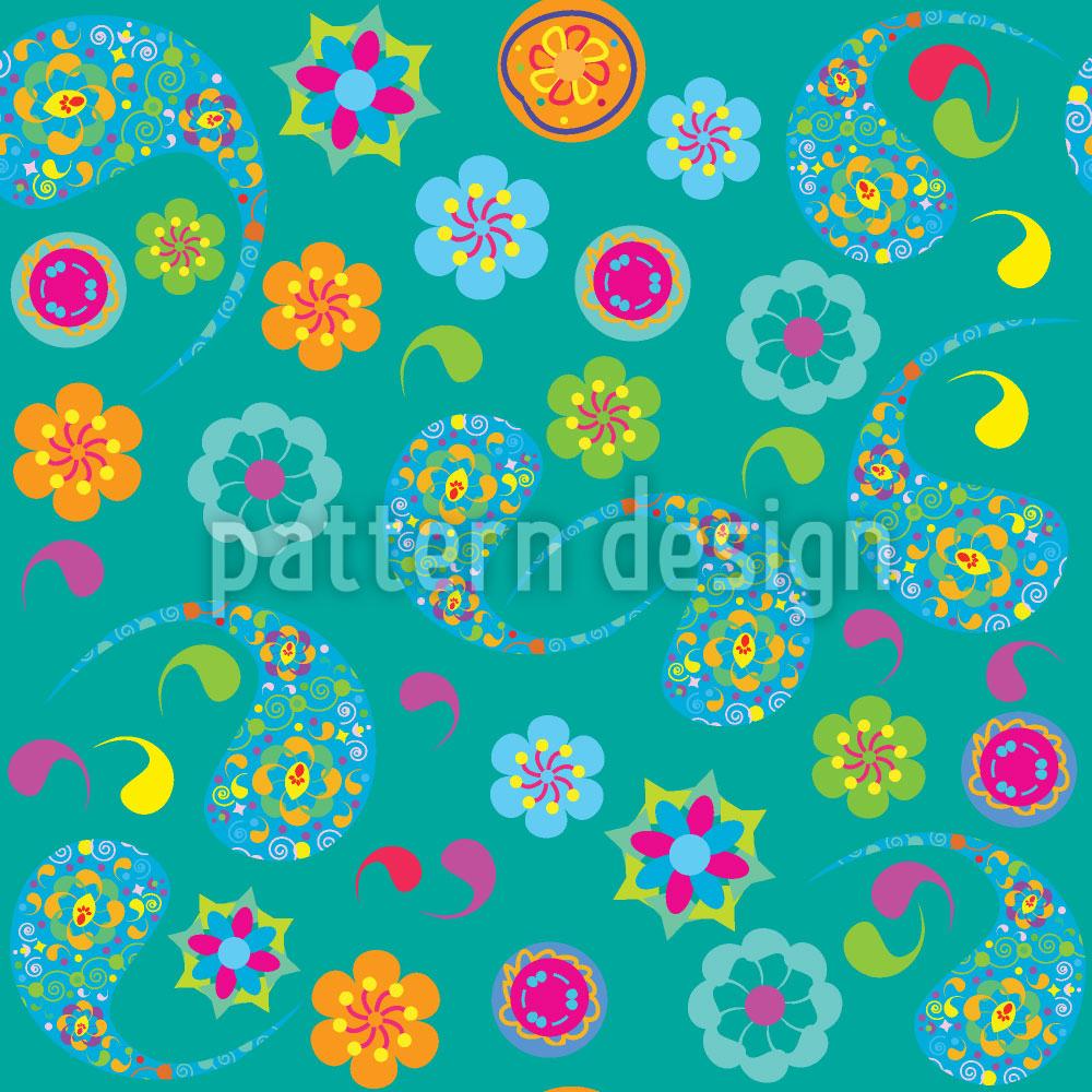 Designtapete Paisley Blüte