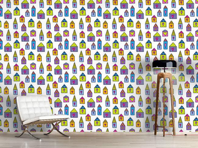Designtapete Liebe Häuser