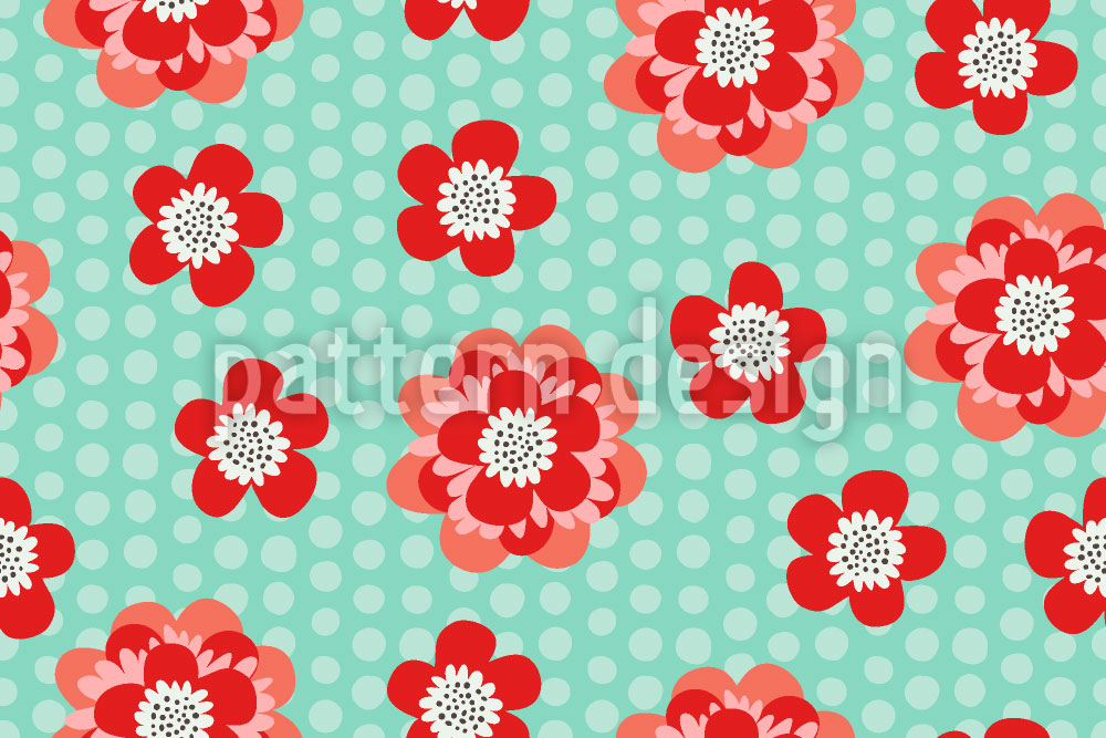 Designtapete Flower Power Und Punkte