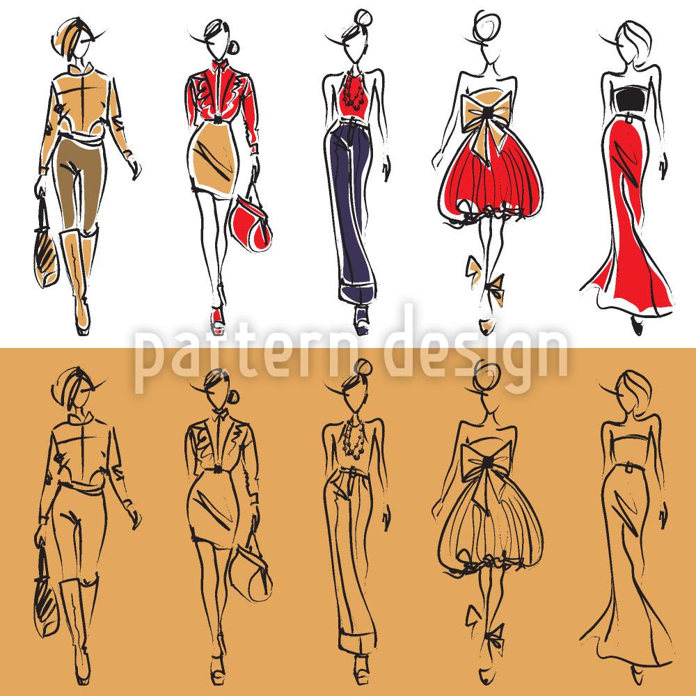 Designtapete Models auf dem Catwalk