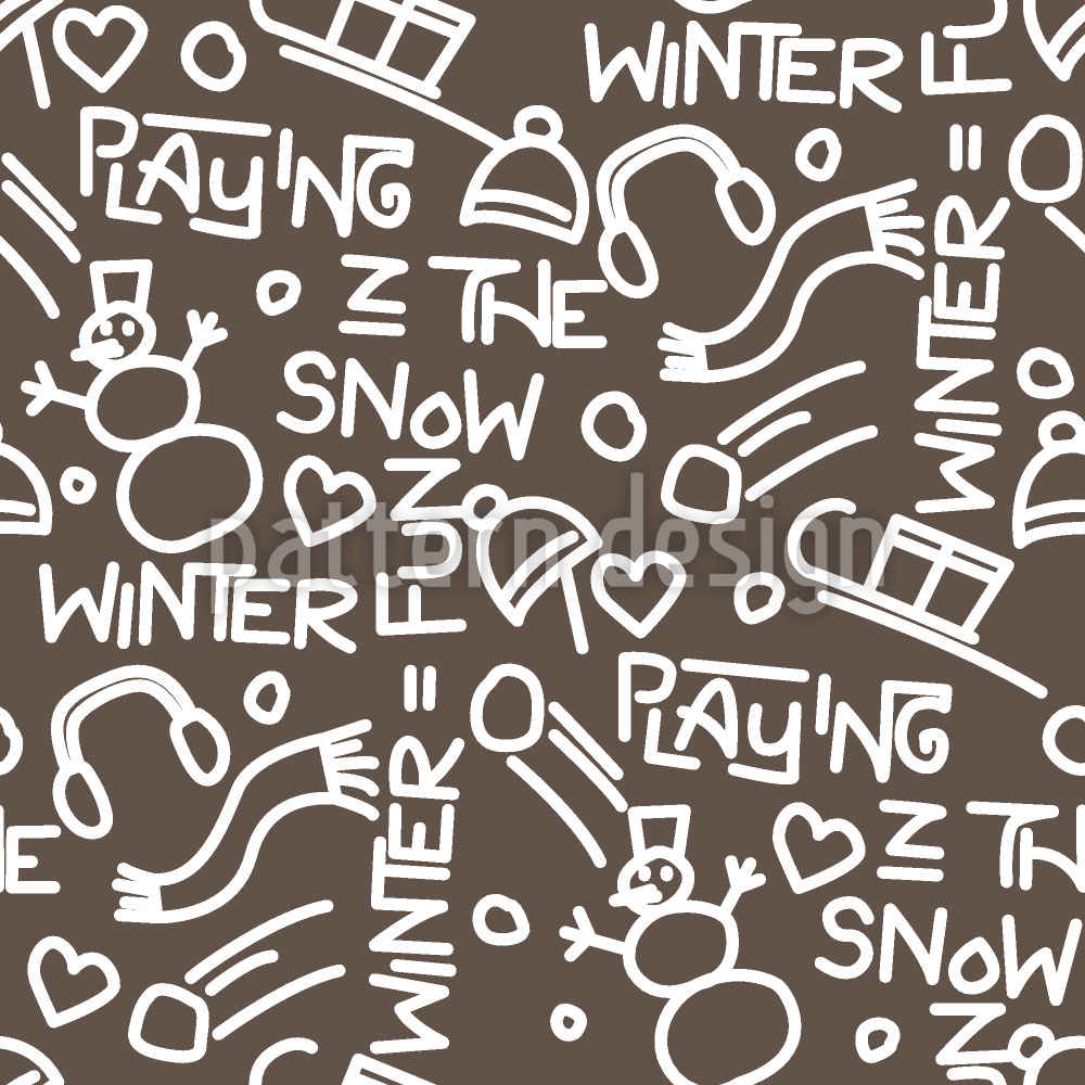 Designtapete Spiele im Schnee Dekor