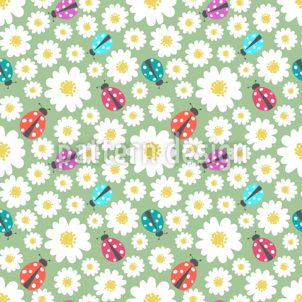 Designtapete Marienkäfer Lieben Blumen