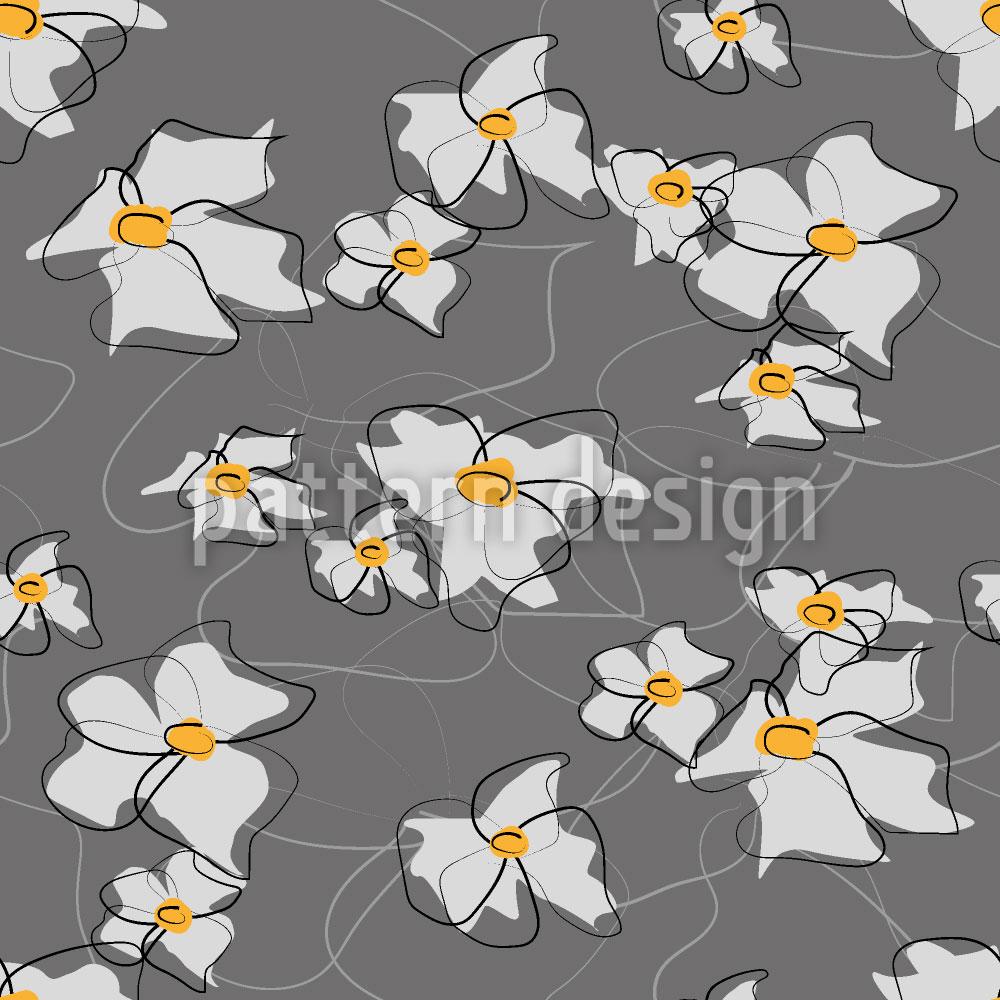 Designtapete Gezeichnete Blüten