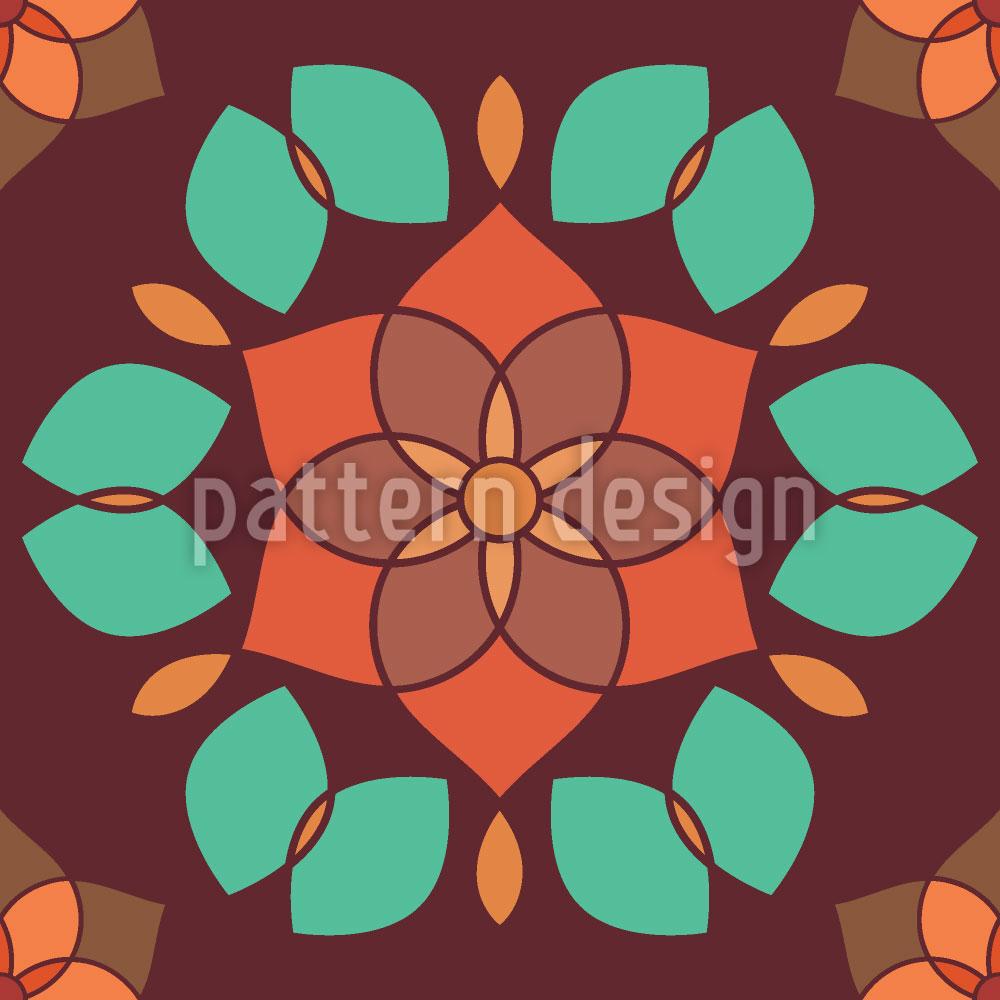 Designtapete Lotusblüte Retro