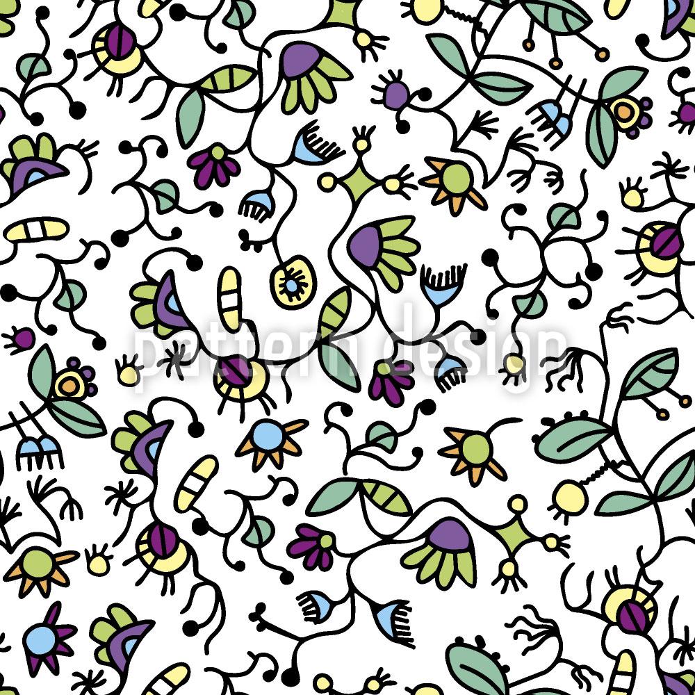 Designtapete Doodle Flora