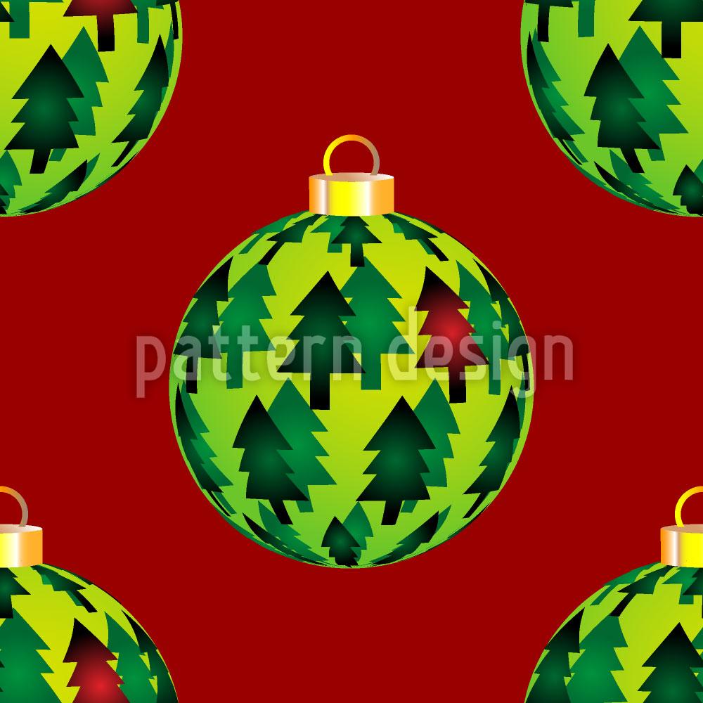 Designtapete Tannen Weihnachtskugeln