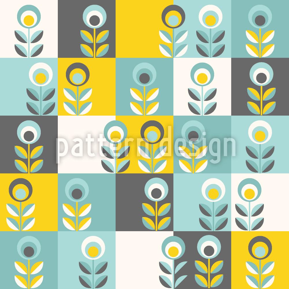 Designtapete Blumen Patchwork