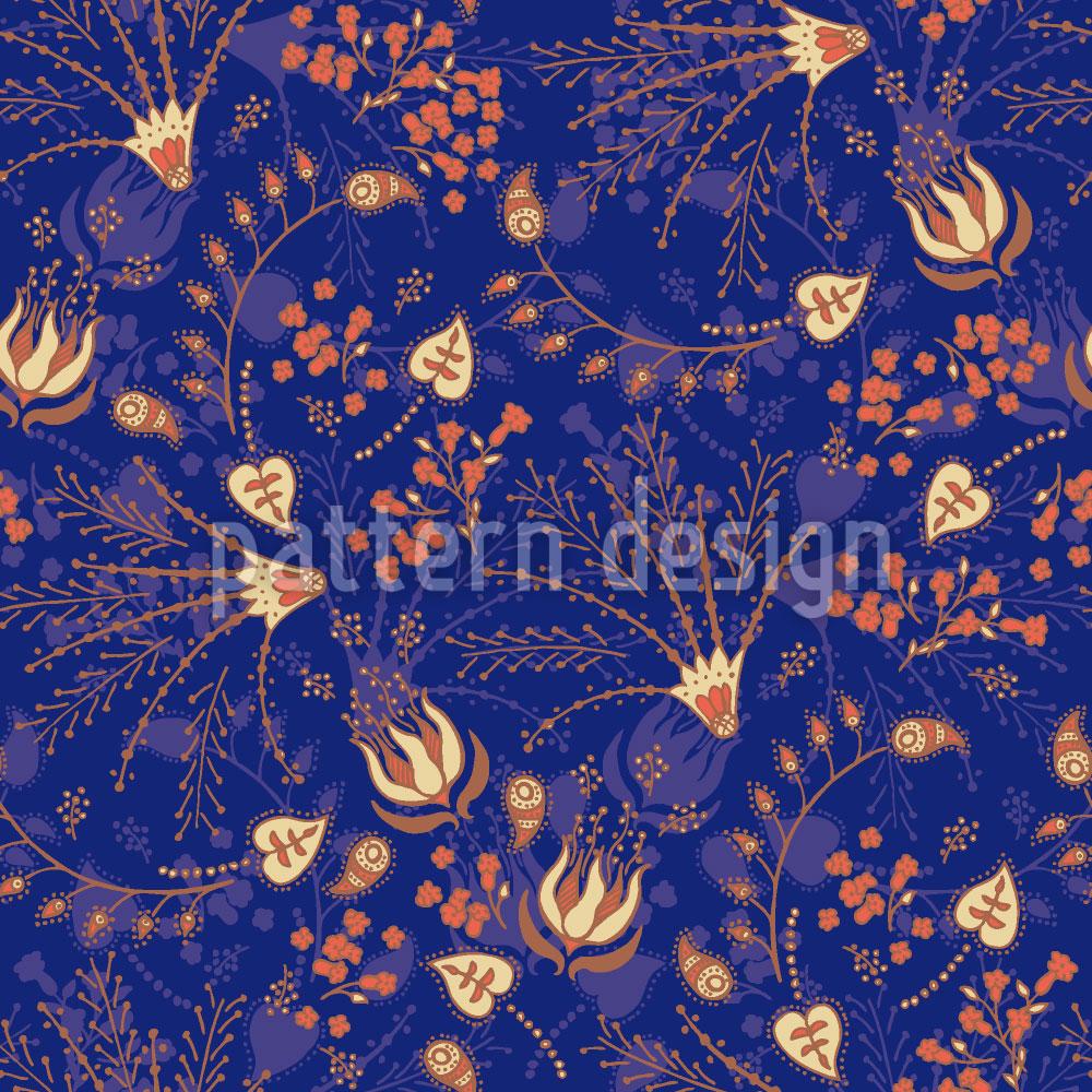 Designtapete Nataschas Zaubergarten Blau