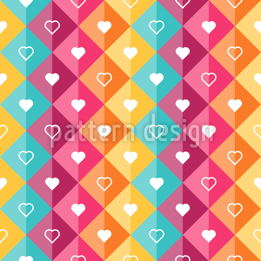 Designtapete Herzen In Karos