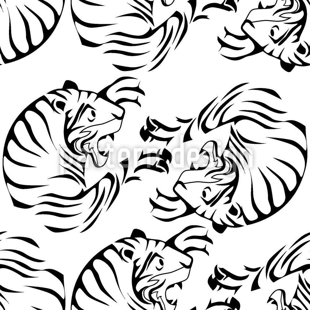 Designtapete Tiger Schwarz Weiss