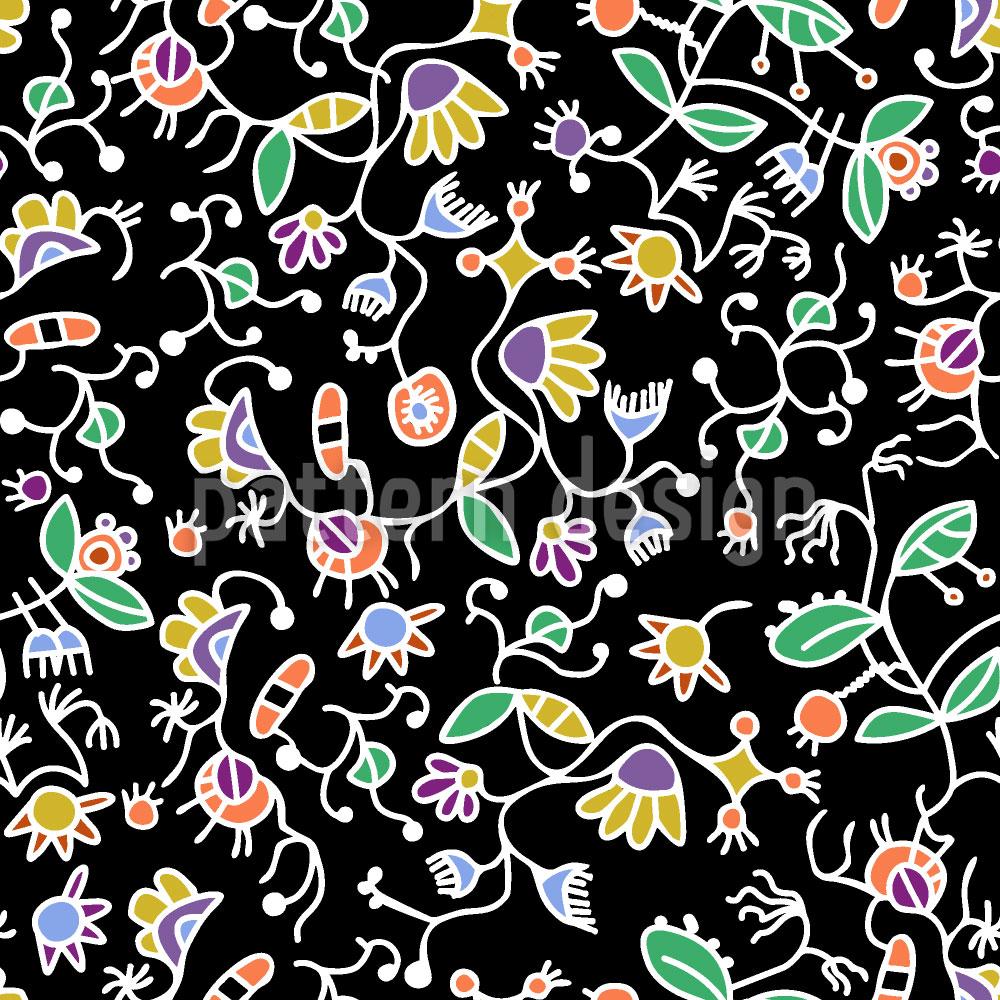 Designtapete Doodle Flora Ranken