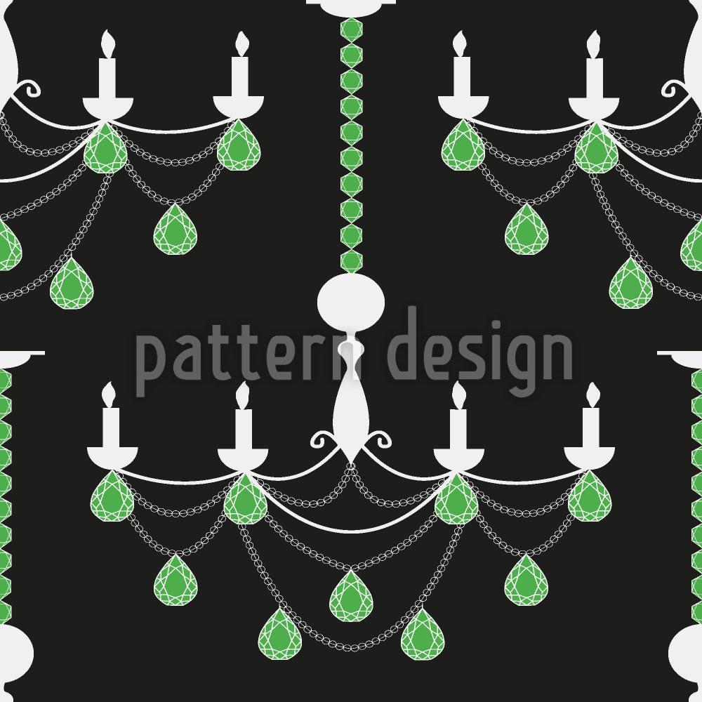 Designtapete Smaragd Kronleuchter