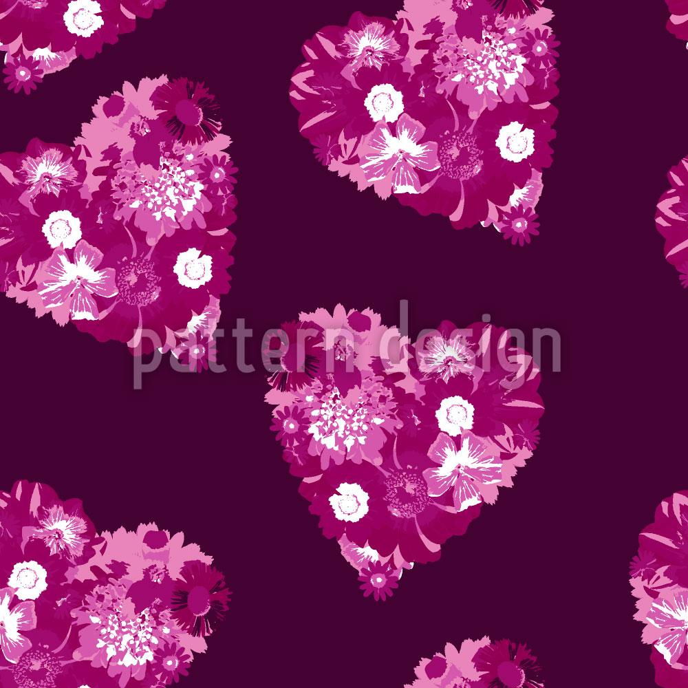 Designtapete Florale Herzen