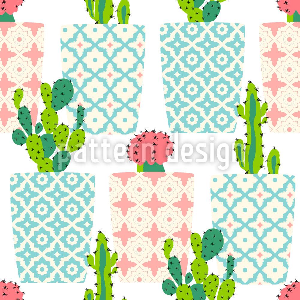 Designtapete Kaktus Töpfe