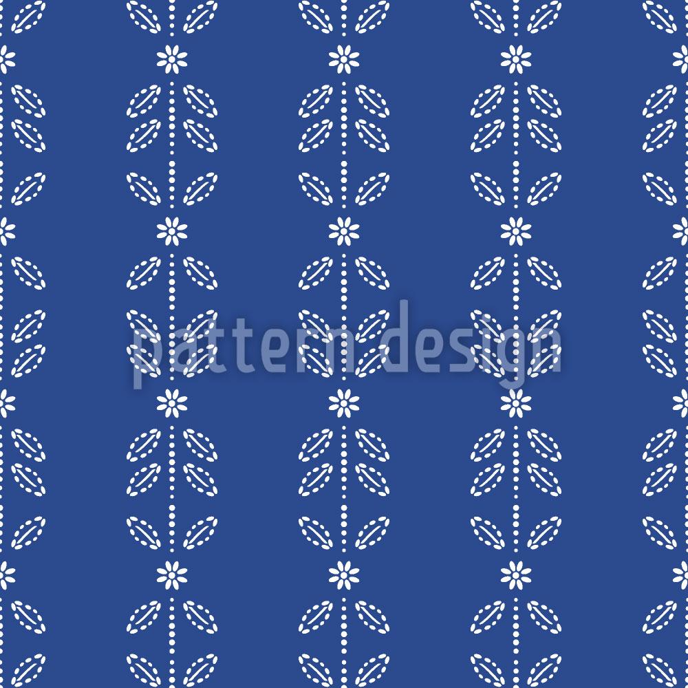 Designtapete Blüten- Und Blätter Streifen