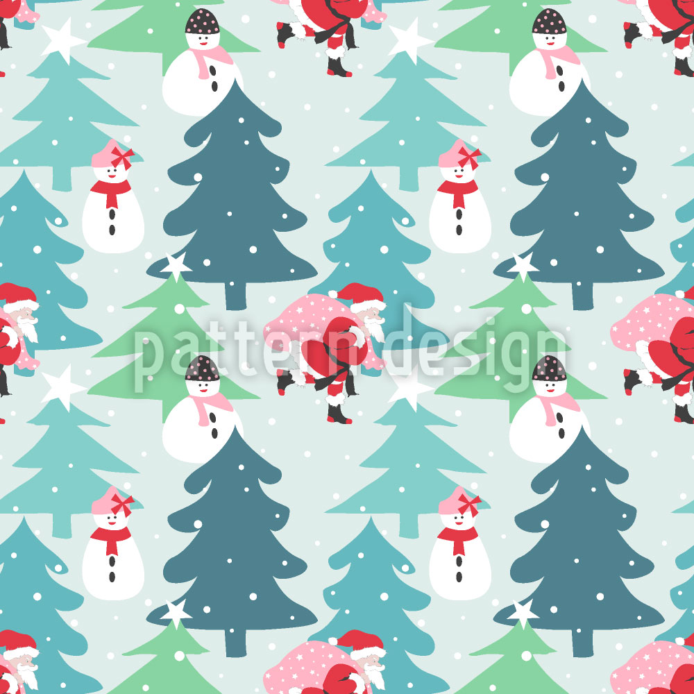 Designtapete Weihnachtsmann In Eile