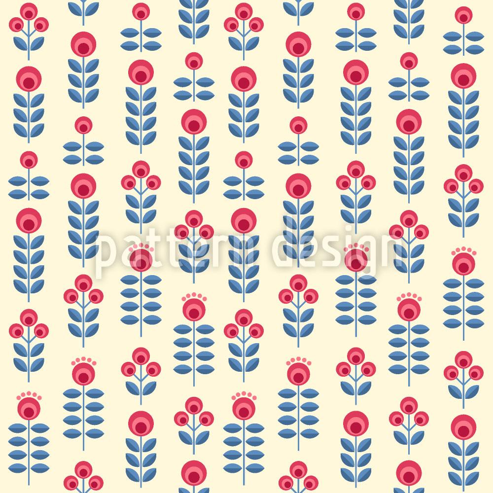Designtapete Folklore Blumengarten