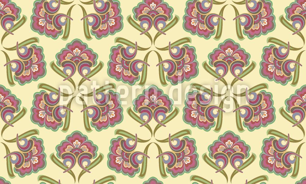 Designtapete Historische Blumen