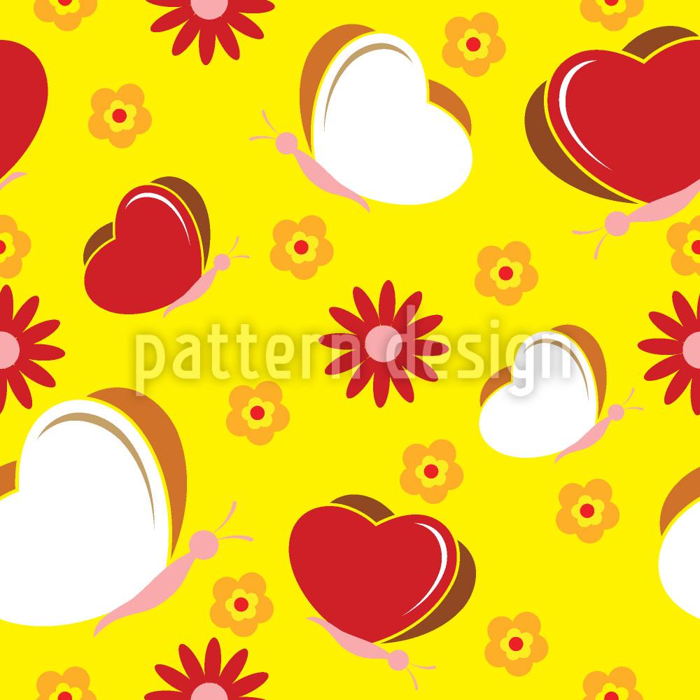 Designtapete Schmetterlinge Lieben Blumen