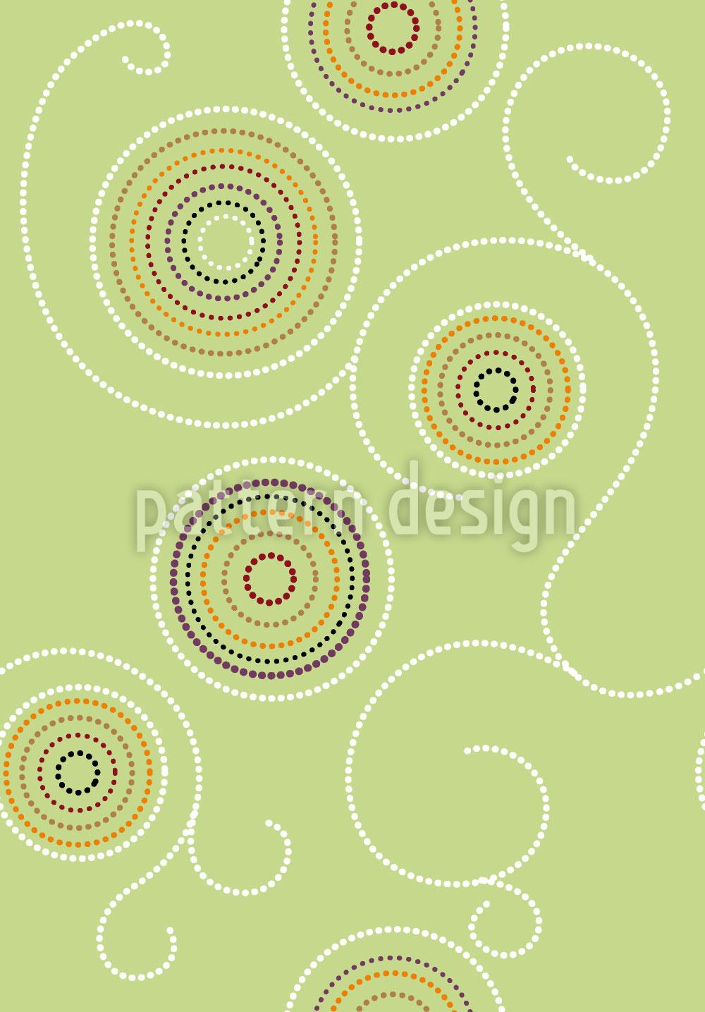 Designtapete Aborigines Kringel Grün