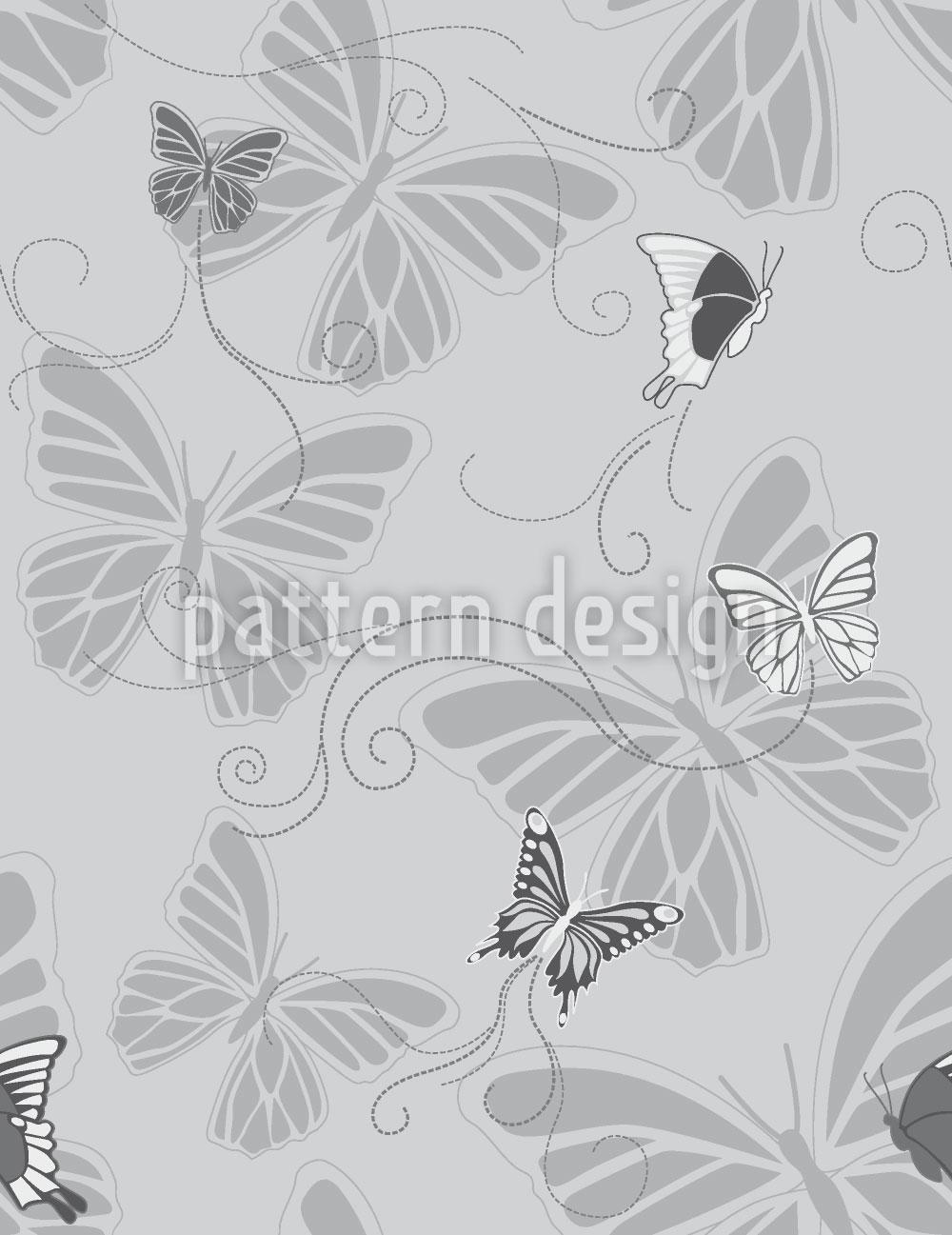 Designtapete Schmetterlinge Monochrom