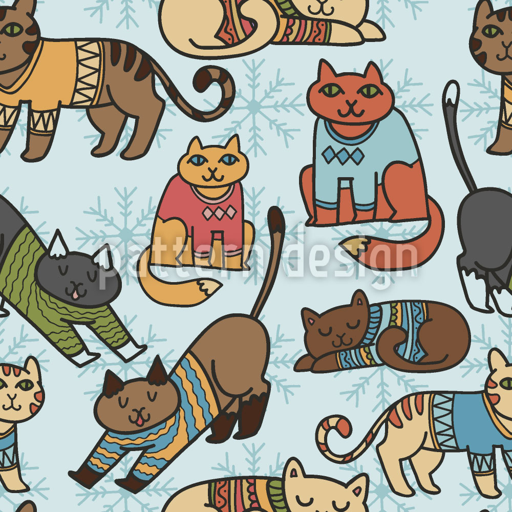 Designtapete Winter Katzen