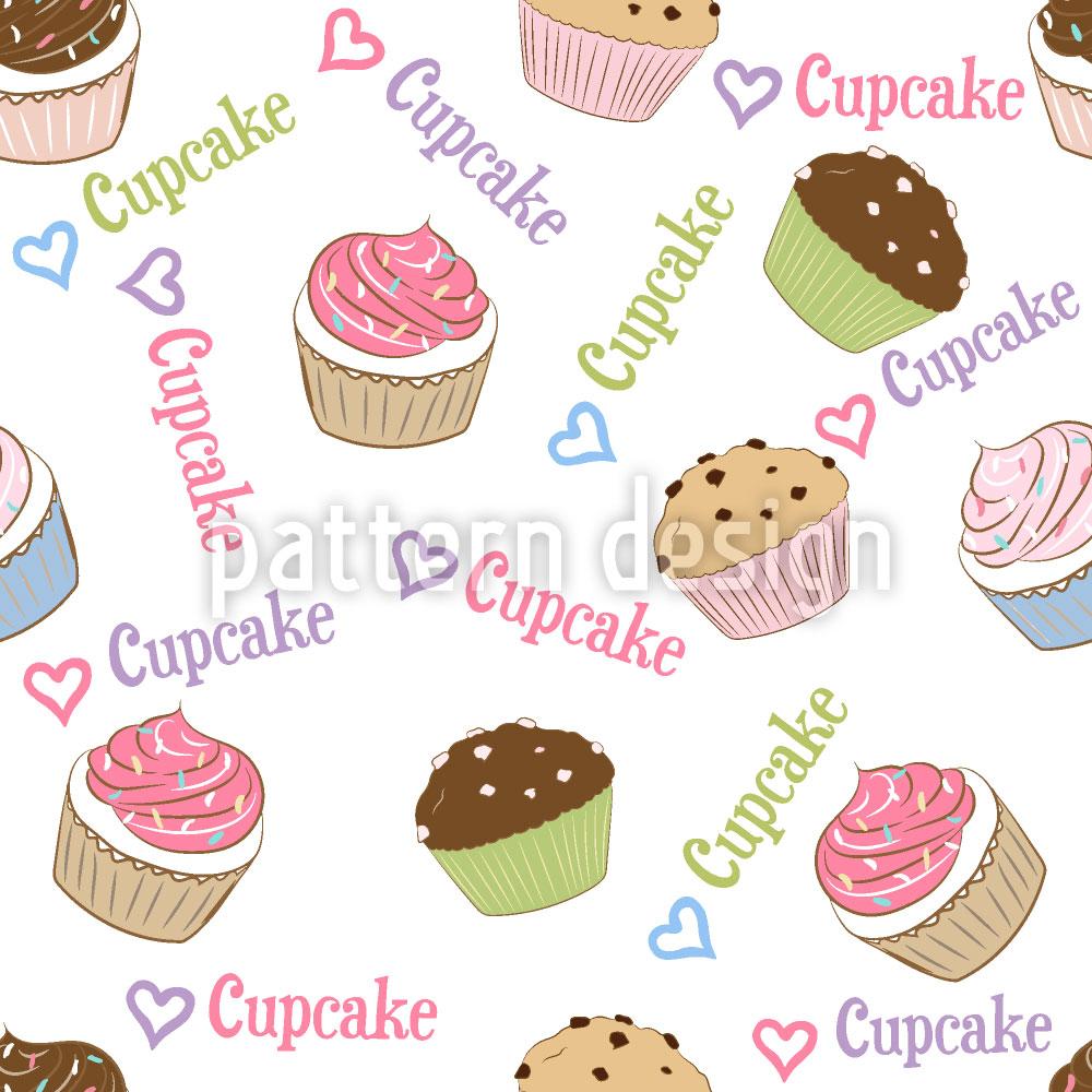 Designtapete Ich Liebe Cupcakes
