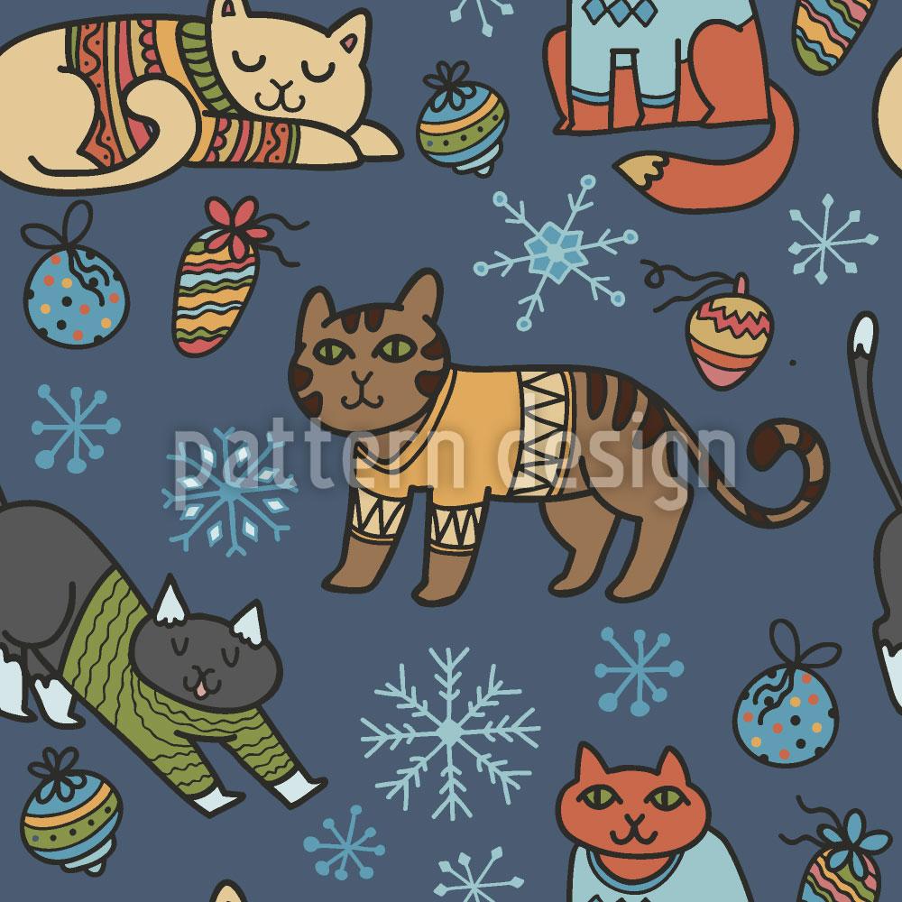 Designtapete Weihnachtskatzen