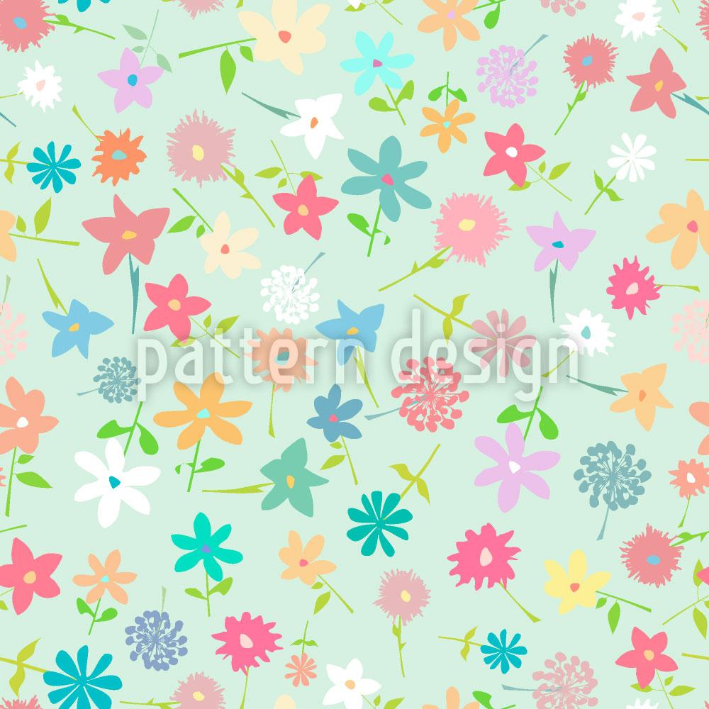Designtapete Blumen Im Feld