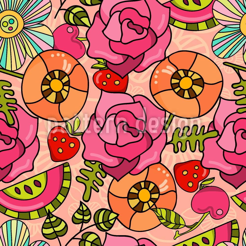 Designtapete Blumen Und Früchte