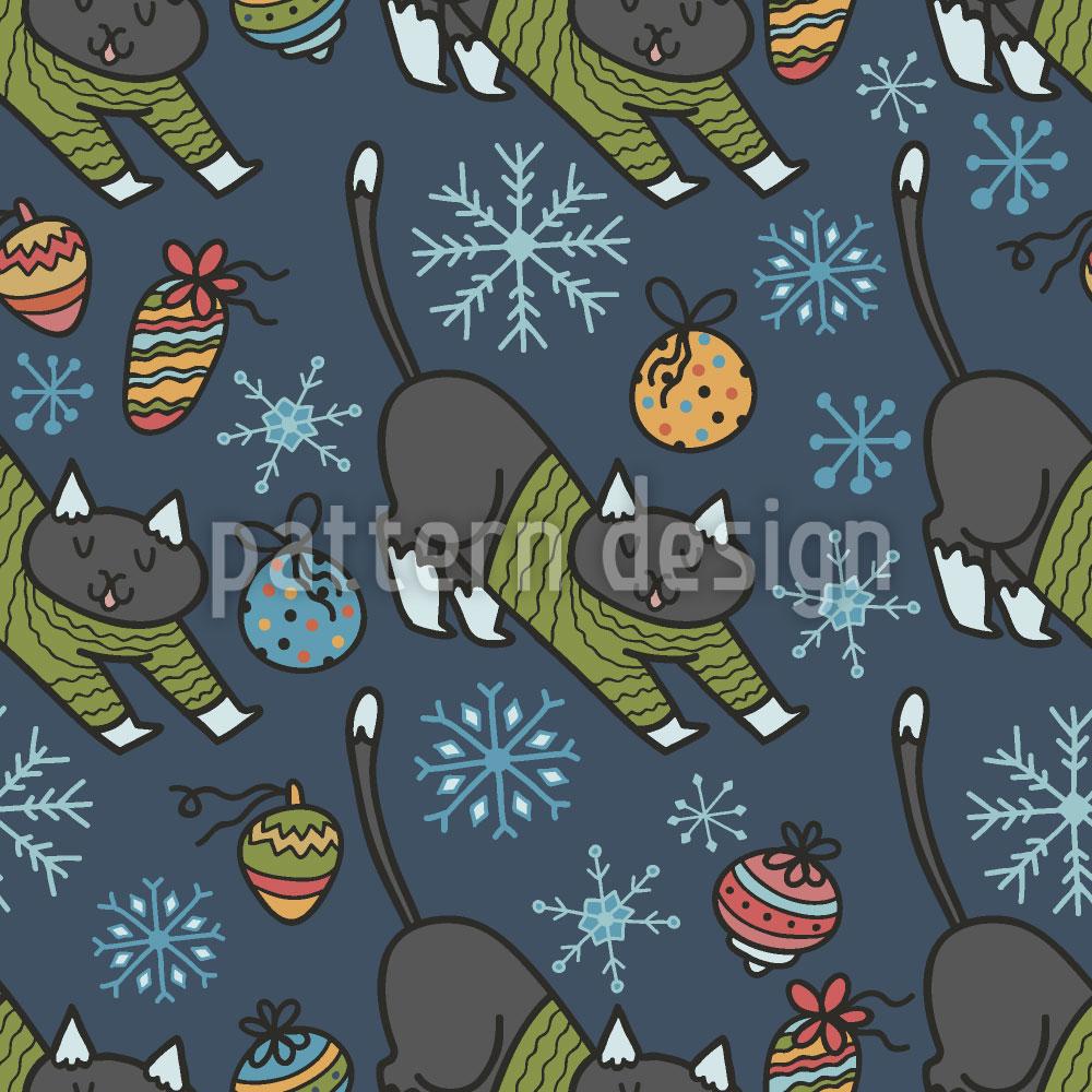 Designtapete Weihnachts Katzen in Pullovern
