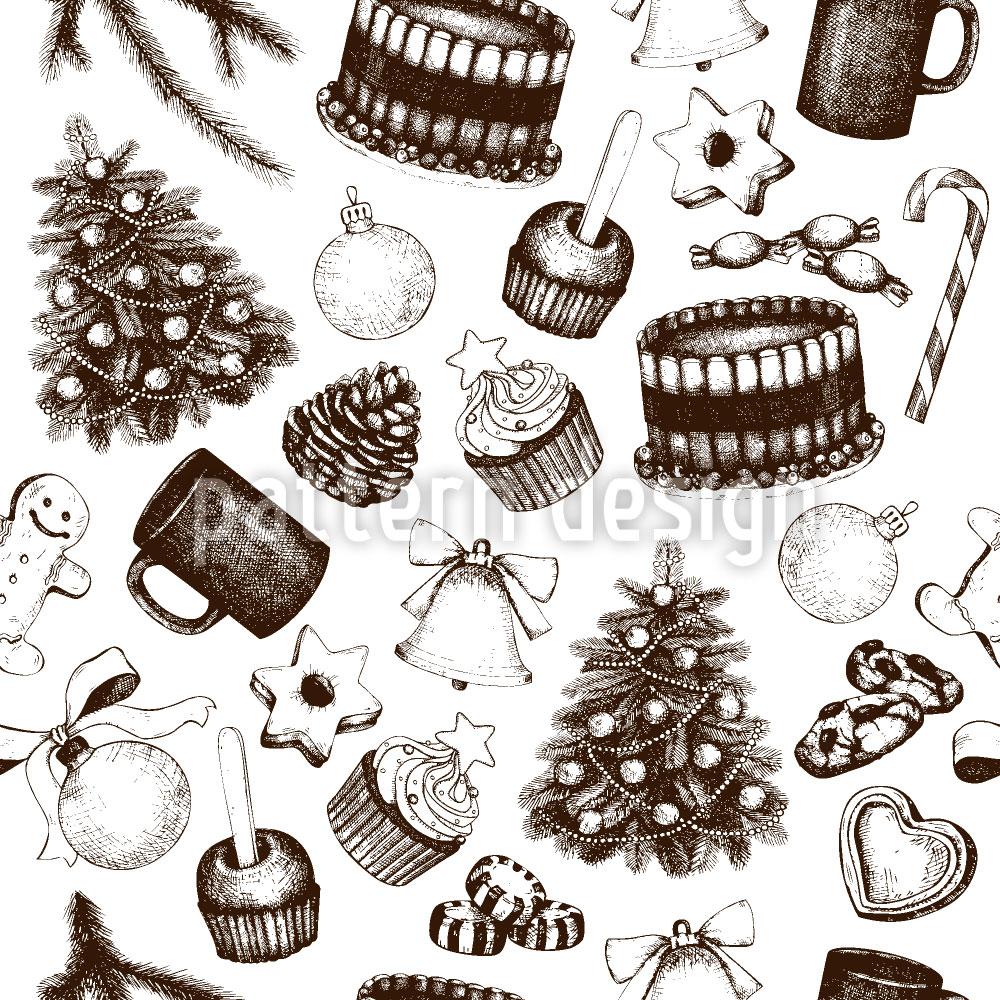Designtapete Vintage Weihnachts Deko