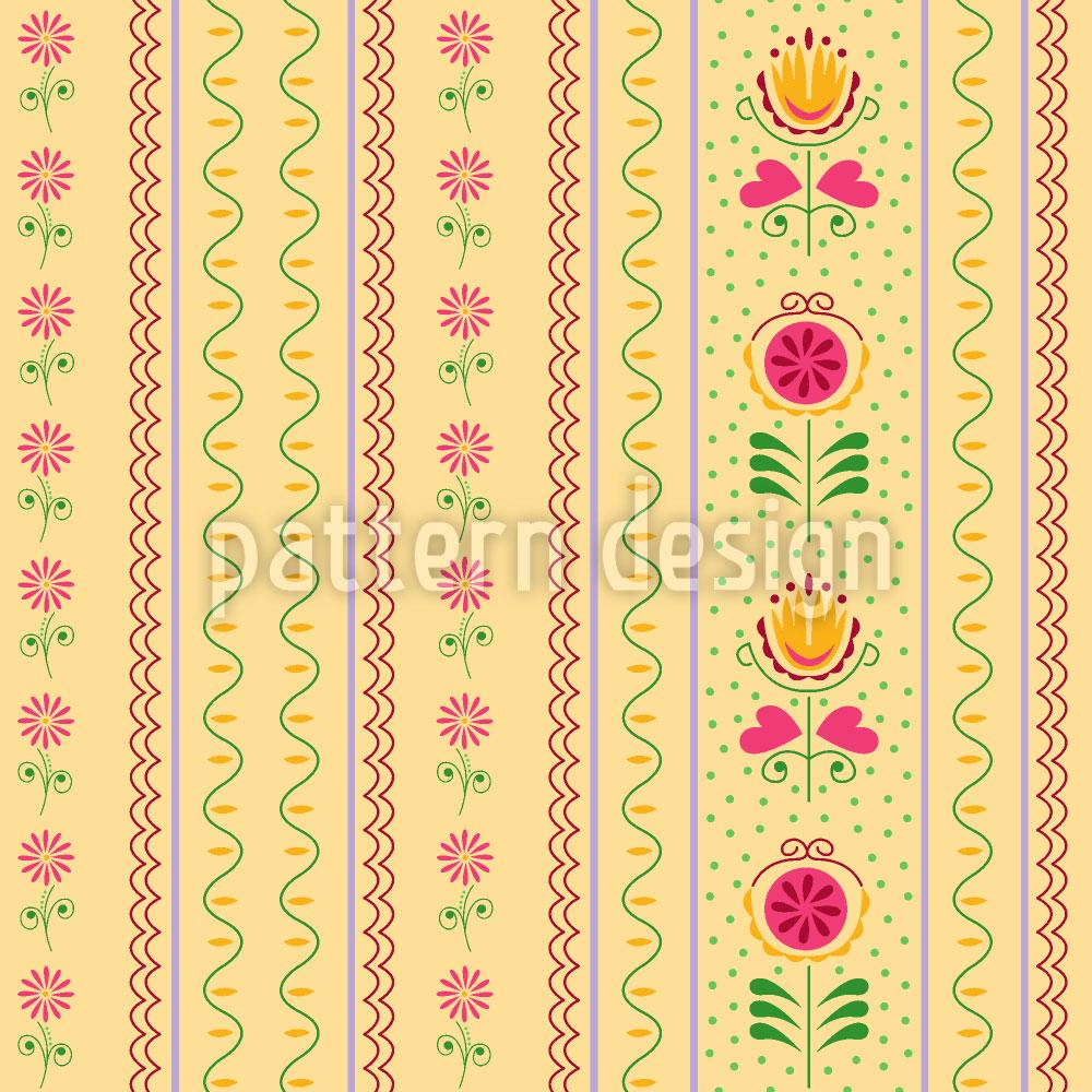 Designtapete Röschen und Tulpen