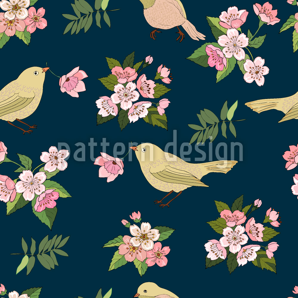 Designtapete Vögel mit Blüten
