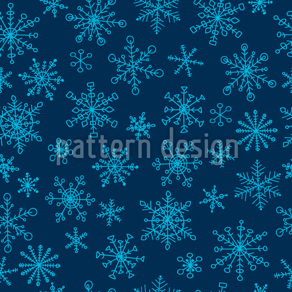 Designtapete Schneeflocken Doodles