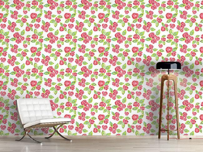 Designtapete Mosaik Rosen