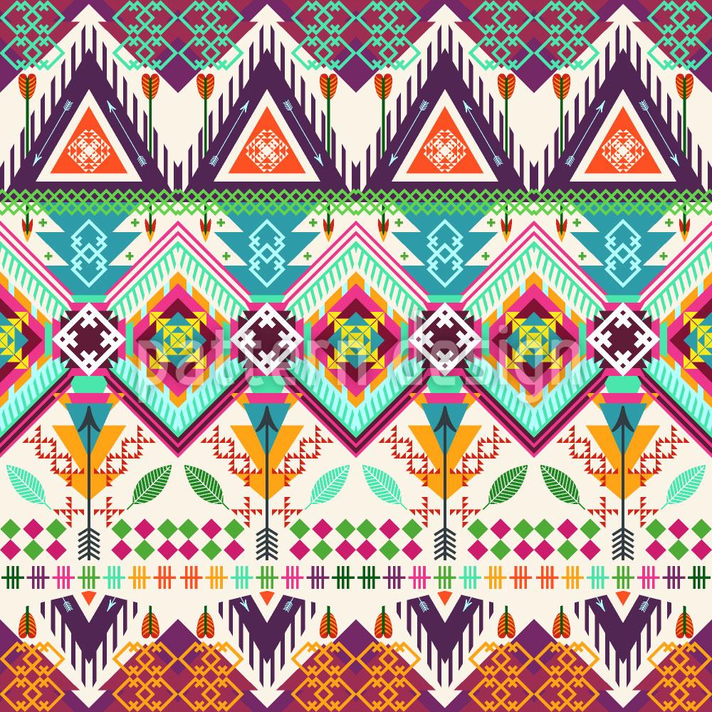 Designtapete Aztekische Stammeskunst