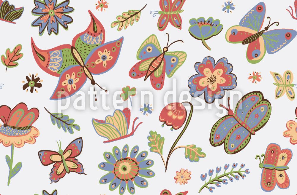 Designtapete Eifrige Schmetterlinge