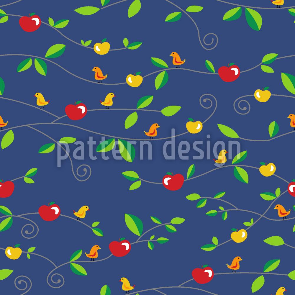 Designtapete Vögel Äpfel Blätter