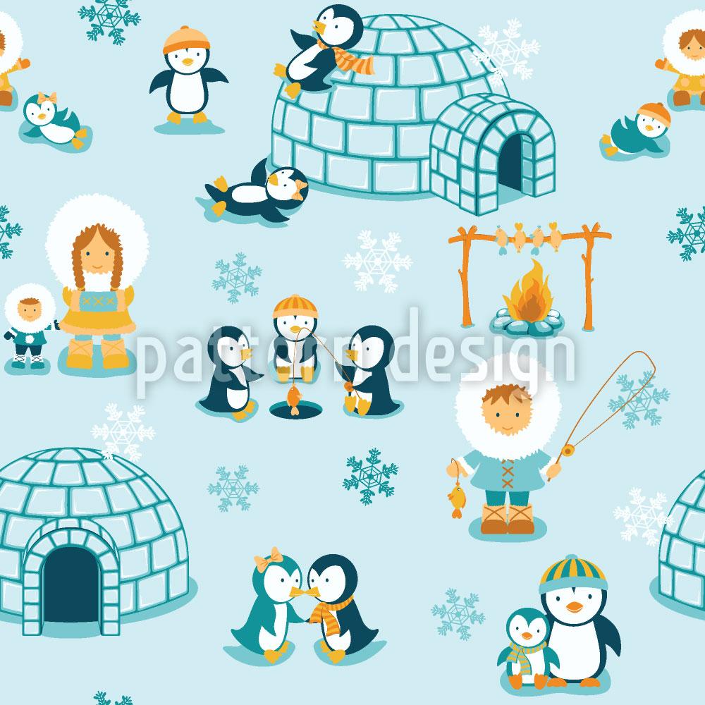 Designtapete Schneeland Familie