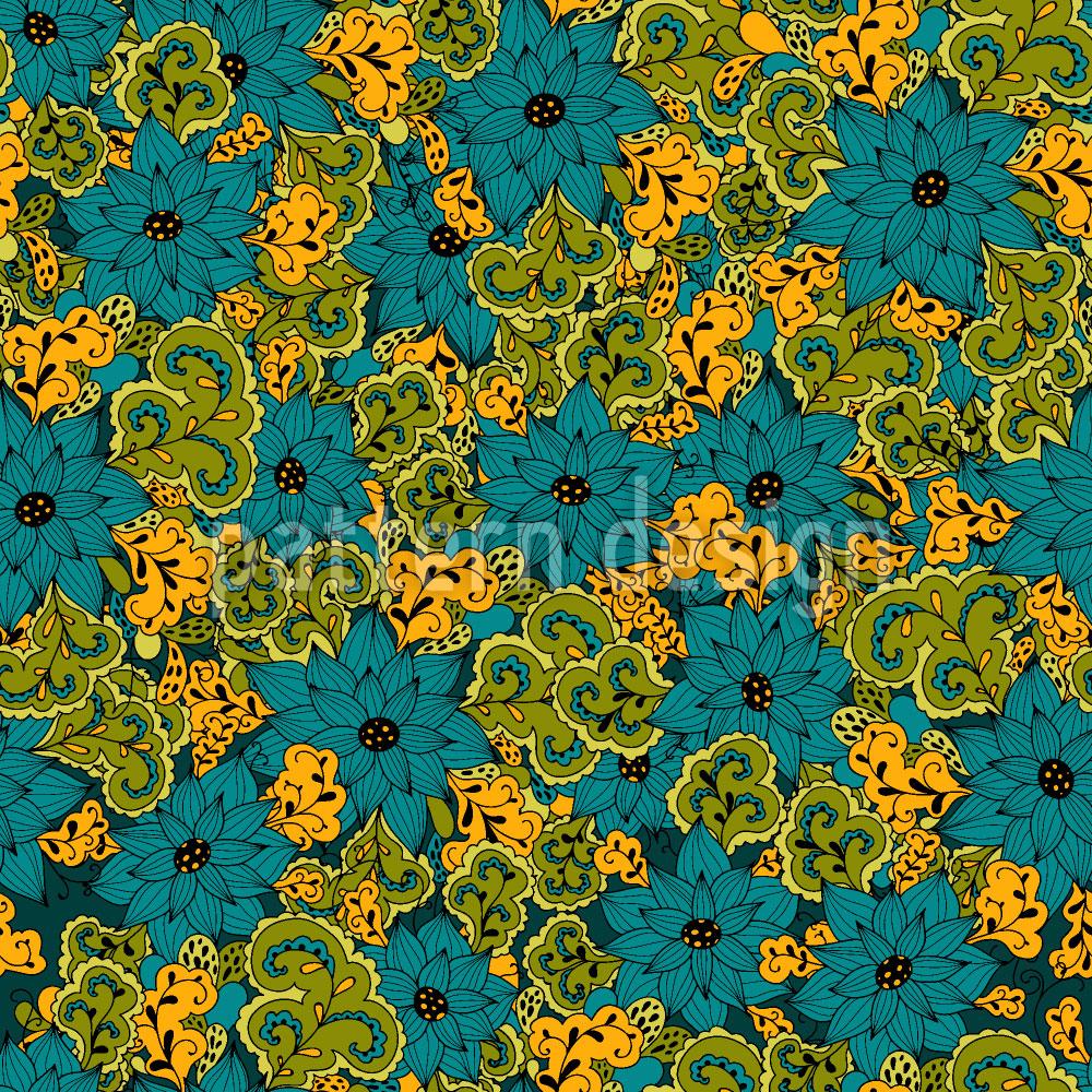 Designtapete Vintage Blumen und Paisley