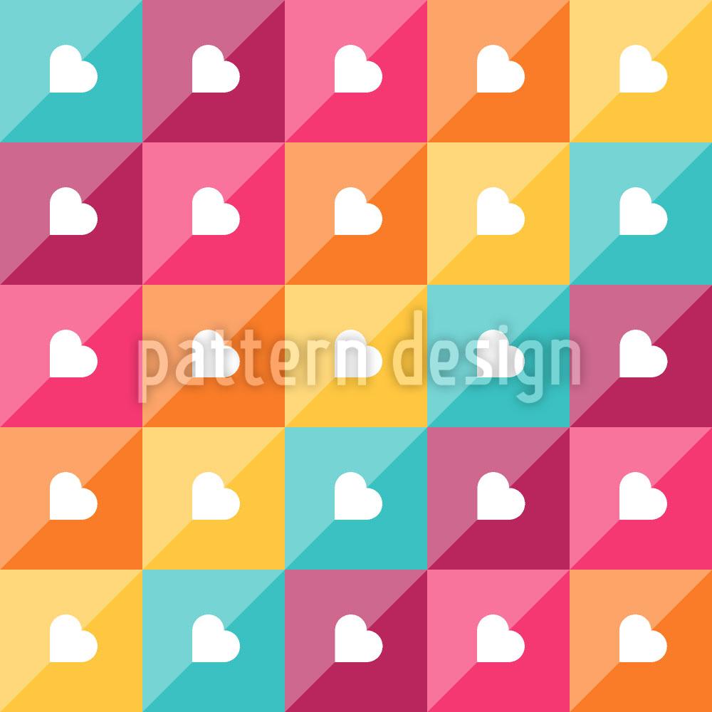 Designtapete Herzen Diagonal
