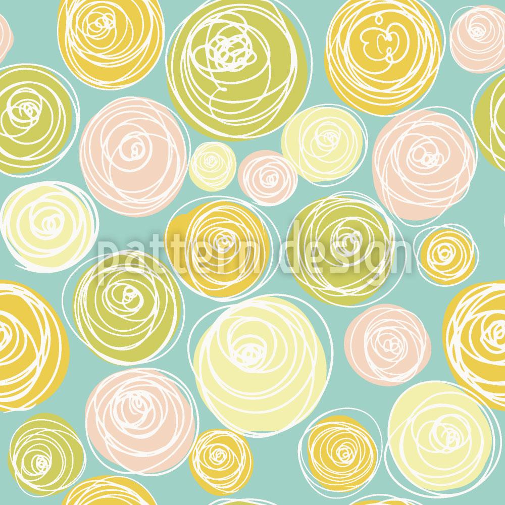 Designtapete Ranunkel Blüten Punkte