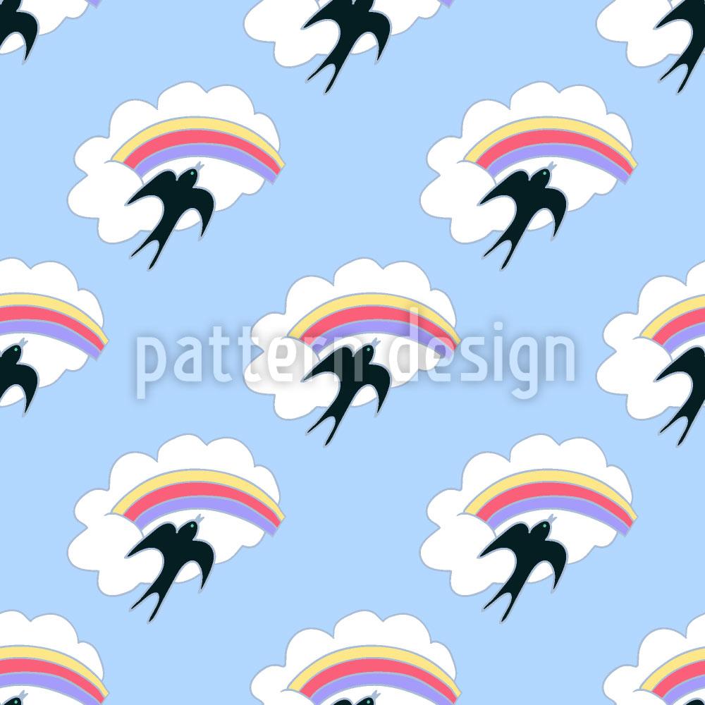 Designtapete Fliegende Schwalbe und Regenbogen