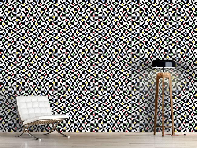 Designtapete Mondrian Blumen