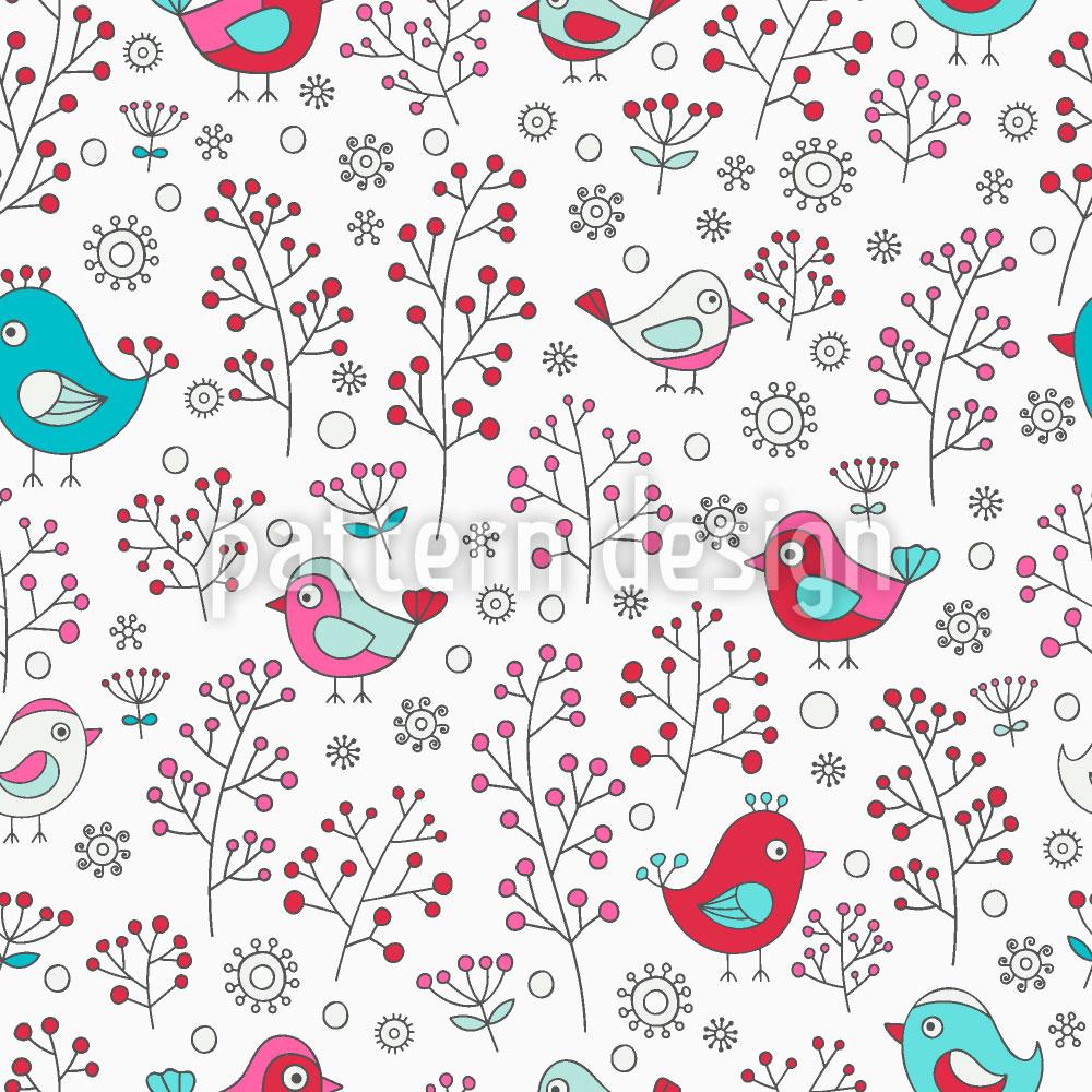 Designtapete Vögel und Beeren